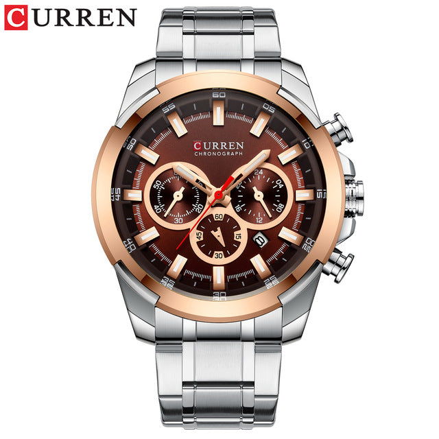 CURREN Classic Black Chronograph Men's Watch Sports Quartz Date Clock Male Watch Stainless Steel Wristwatch Relogio Masculino - Slabiti