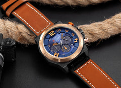 CURREN Fashion Brand Chronograph Sports Men Watches Military Analog Quartz Wrist Watches Genuine Leather Strap Male Clock - Slabiti