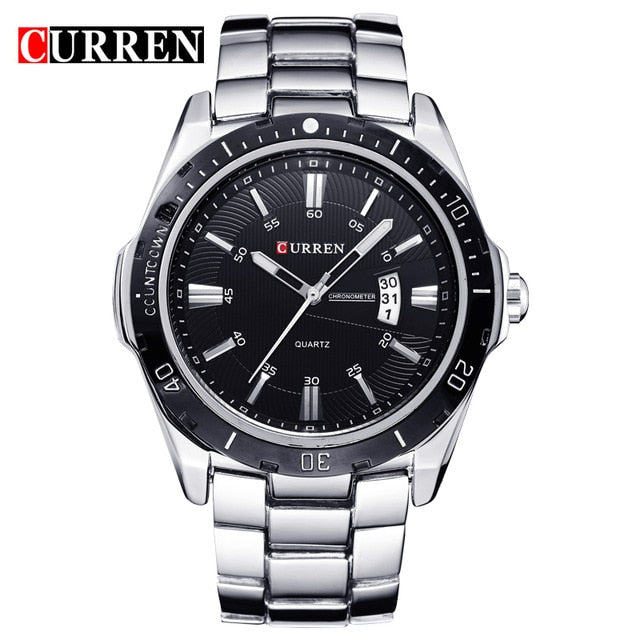 CURREN Fashion Business Wristwatch Casual Military Quartz Sports Men's Watch Full Steel Calendar Male Clock relogio masculino - Slabiti