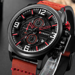 CURREN Fashion Casual New Men's Wristwatch Chronograph Sports Men Watches Genuine Leather Strap Male Clock Calendar Watches - Slabiti