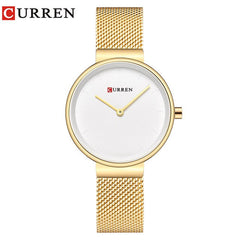 CURREN Fashion Colorful Quartz Watches for Women Simple Casual Stainless Steel Mesh Wristwatch Female Clock - Slabiti