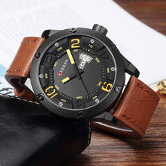 CURREN Fashion Creative Design Leather Strap Quartz Men Watches Display Date and Week Waterproof Wrist Watch Relogio Masculino - Slabiti