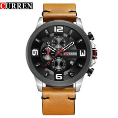 CURREN Fashion Design Male Clock Chronograph Men Sports Watches Waterproof Leather Strap Quartz Men's Watch Relogio Masculino - Slabiti