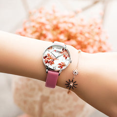 CURREN Leather Strap Watches Women's Quartz Watch Beautiful Pink Wristwatches Ladies Clock Female Fashion Design Charming Watch - Slabiti