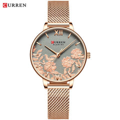 CURREN Leather Women Watches 2019 Beautiful Unique Design Dial Quartz Wristwatch Clock Female Fashion Dress Watch Montre femme - Slabiti