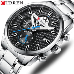 CURREN Luxury Business Men's Watch Chronograph and Auto Date Stainless Steel Band Quartz Wristwatch Men Clock Causal Sports - Slabiti