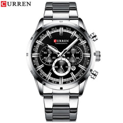 CURREN Luxury New Mens Stainless Steel Band Wristwatches for Men Casual Fashion Quartz Clock Mens Chronograph Watch with Date - Slabiti