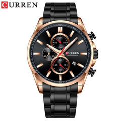 CURREN Men's Watch Causal Sport Watches Top Luxury Brand Blue Full Steel Quartz Wristwatch Chronograph Military Male Clock - Slabiti