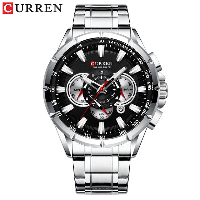 CURREN Men's Watch Fashion Sport Chronograph Wristwatch Mens Watches Top Brand Luxury Quartz Watch Stainless Steel Band - Slabiti