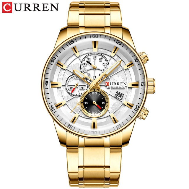 CURREN Men's Watches Quartz Watch with Stainless Steel Band Chronograph Luminous hands Clock Male Wristwatch Mens Fashion - Slabiti