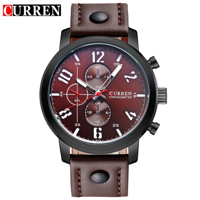 CURREN Mens Watches Top Brand Luxury Leather Strap Quartz Watch Men Casual Sport Drop Shipping Male Clock Relogio Masculino - Slabiti