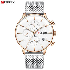 CURREN Mesh Strap Stainless Steel Quartz Watches Men Fashion Casual Male Clock Chronograph and Auto Date Wristwatch Reloj Hombre - Slabiti