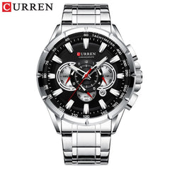 CURREN New Causal Sport Chronograph Men's Watch Stainless Steel Band Wristwatch Big Dial Quartz Watches with Luminous Pointers - Slabiti
