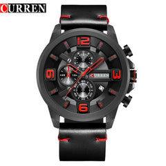 CURREN New Chronograph Black Men Watches Luxury Fashion Sports Male Wrist Watch Leather Strap Calendar Casual Business Clock - Slabiti