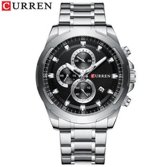 CURREN New Mens Watches Fashion Casual Stainless Steel Band Chronograph Quartz Watch Men Date Sport Military Male Clock 8354 - Slabiti