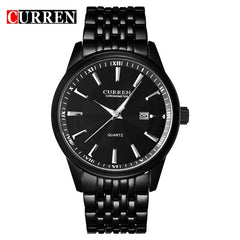 CURREN New Watches Fashion Simple style Calendar Casual Business Men Wristwatch Full Steel Quartz Male Clock Waterproof Watch - Slabiti