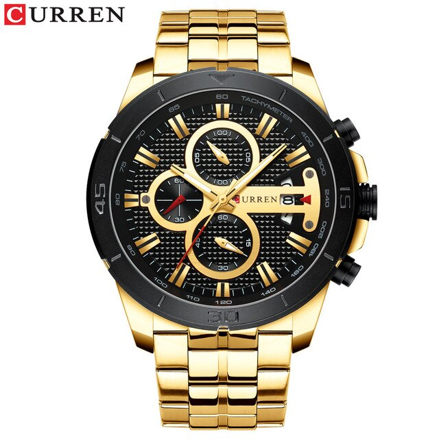 CURREN New Watches Mens Luxury Brand Chronograph Sport Watch for Men Wristwatch with Stainless Steel Band Casual Business Clock - Slabiti