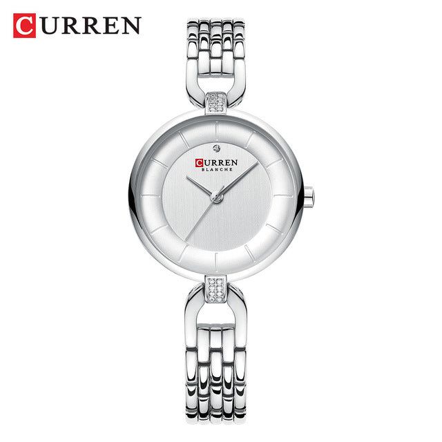 CURREN Quartz Women Luxury Rhinestone Clock Woman Gift Charming Ladies Stainless Steel Bracelet Women Wristwatch Montre femme - Slabiti