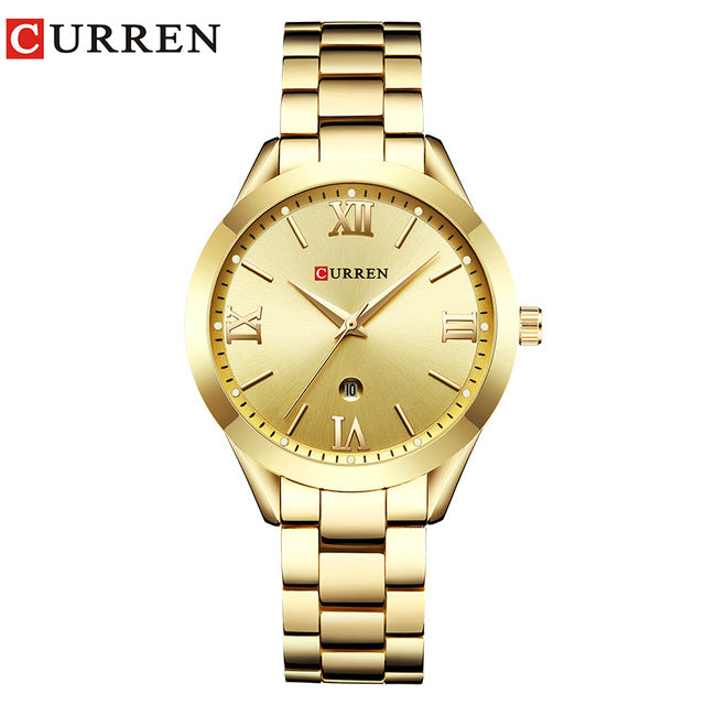 CURREN Simple  Fashion Stainless Steel Analog Quartz Wrist Watch Calendar Female Dress Watch Women Clock Relogio Feminino - Slabiti
