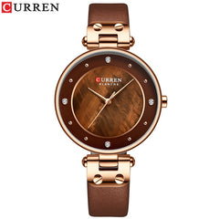 CURREN Simple Rhinestones Charming Watch for Ladies Quartz Watches Leather Strap Clock Female Wristwatch Dress Women's Watch - Slabiti
