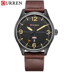 CURREN Simple style Calendar Casual Men Watches Leather Strap Male Clock Fashion Business Quartz Week Display Wrist Watch - Slabiti