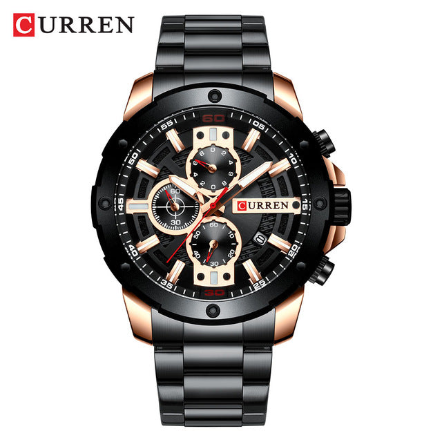CURREN Sport Quartz Men's Watch New Luxury Fashion Stainless Steel Wristwatches Chronograph Watches for Male Clock Reloj Hombres - Slabiti
