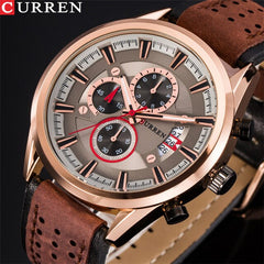 CURREN Top Brand Men Sports Watches Men Quartz Male Clock Chronograph Fashion Date Leather Wrist Watch Hodinky Relogio Masculino - Slabiti