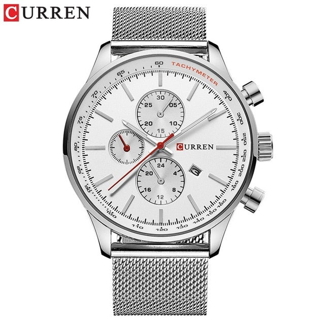 CURREN Top Watches Men Luxury Brand Casual Stainless Steel Sports Watches Japan Quartz Unisex Wristwatch For Men Military Watch - Slabiti