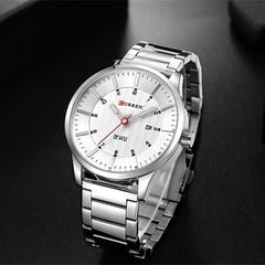 CURREN Watches Fashion Stainless Steel Band Mens Watches Classic Business Quartz Wristwatch For Men Male Clock With Calendar - Slabiti