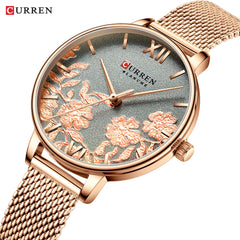 CURREN Women Watches Top Brand Luxury Stainless Steel Strap Wristwatch for Women Rose Clock Stylish Quartz Ladies Watch - Slabiti
