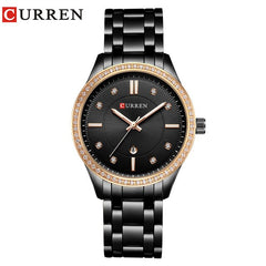 CURREN Womens Watch Rhinestone Quartz Watch New Fashion Stainless Steel Gold Bracelet Gem Green Dial Female Clock Montre Femme - Slabiti