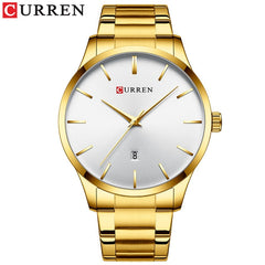 Casual Business Watches for Men Classic Black Watch Top Brand CURREN Quartz Clock Male Stainless Steel Band Wristwatch - Slabiti