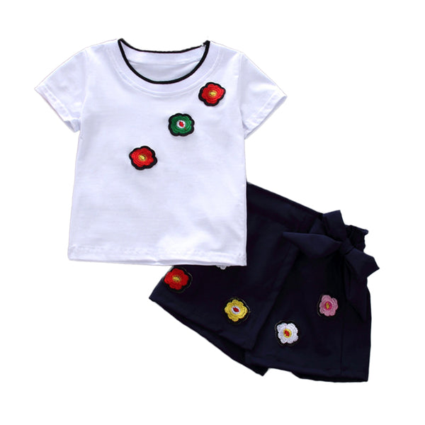 Casual Girls Clothes 2018 New Summer Baby Children Clothing Set Cotton Short Sleeve Shirts Shorts Kids Suits Toddlers Costume - Slabiti