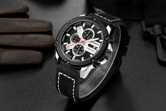 Casual Stylish Watch Mens Leather Chronograph Sports Wristwatch CURREN 2018 Brand New Fashion Waterproof Montre Homme Black - Slabiti