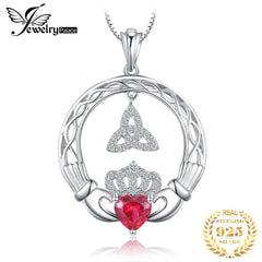 Celtic Knot Claddagh Created Ruby Pendant Necklace 925 Sterling Silver Gemstones Choker Statement Necklace Women Without Chain - Slabiti