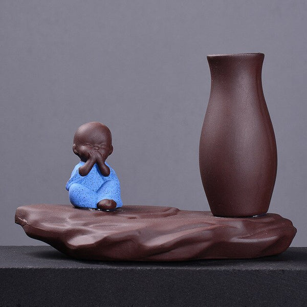 Ceramic Handmade Craft Water Planting The Little Monk Home Decor Flower Receptacle Office Ornament - Slabiti