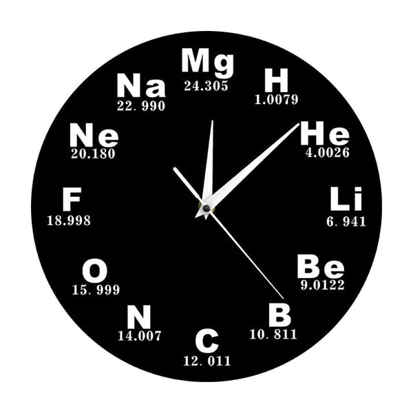 Chemical Symbols Wall Clock Chemical Elements Periodic Table Clock Biology Wall Art Novelty Clock Watch Science Teachers Gift - Slabiti