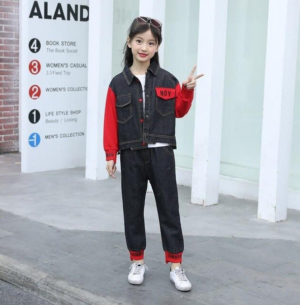 Child Denim Clothing Set Children Clothing Letter Print Hole Denim Coat +Jeans Pant Children Girl Two Piece Suits Kid Streetwear - Slabiti
