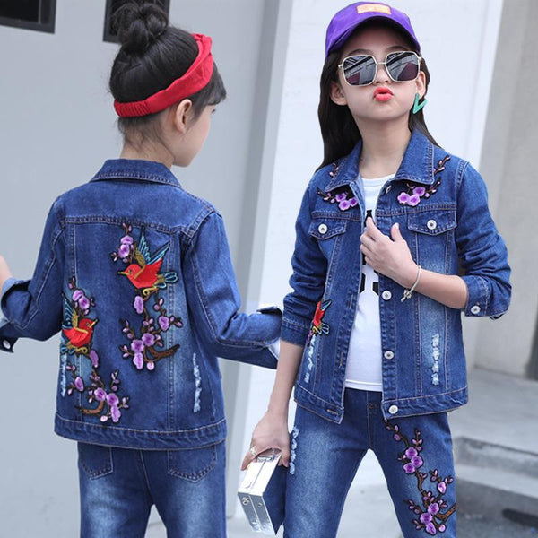 Children Clothing Set Korean Girls Denim Suit Spring Outfits SportsWear Teenaage Casual Jacket + Jeans 2pcs for 4 6 8 10 14 Year - Slabiti