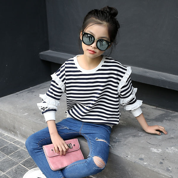 Children's Spring Autumn Clothes Kids Girls Striped Cotton Tops Fashion Long Sleeve Ruffles T Shirt Outfits for Teens 8 10 Years - Slabiti