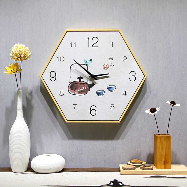 China wall clock simple bedroom atmosphere Chinese living room silent clock - Slabiti