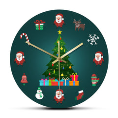 Christmas Elements Holidays Decorative Wall Clock Silent Non-Ticking Quartz Christmas Trees Wall Watch New Year Interior Decor - Slabiti