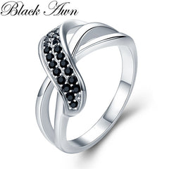 Classic 2.9g 925 Sterling Silver Fine Jewelry Engagement Black Spinel Engagement  Ring for Women G036 - Slabiti