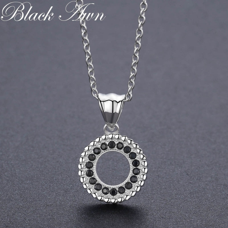 Classic 2.9g 925 Sterling Silver Fine Jewelry Trendy Round Engagement necklaces & pendants for Women Bijoux P193 - Slabiti