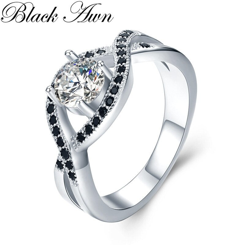 Classic 4.9g 925 Sterling Silver Fine Jewelry Bague Black Spinel Wedding Rings for Women Girl Party Gift Bijoux C478 - Slabiti