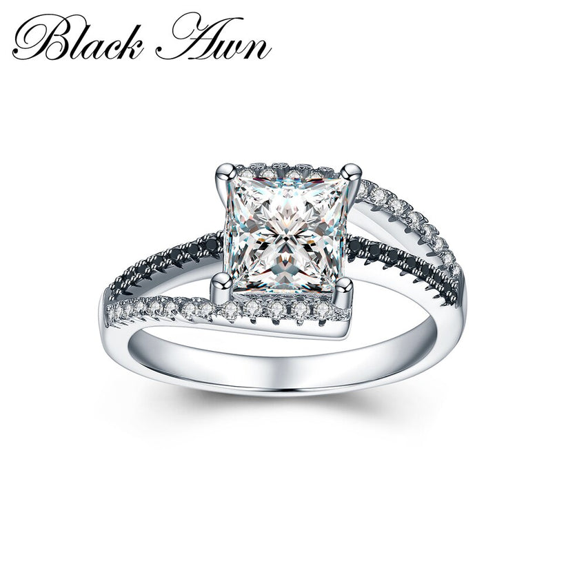 Classic Rings For Women 925 Sterling Silver Fine Jewelry Trendy Engagement Bague Femme Square  Women's Wedding Ring C027 - Slabiti