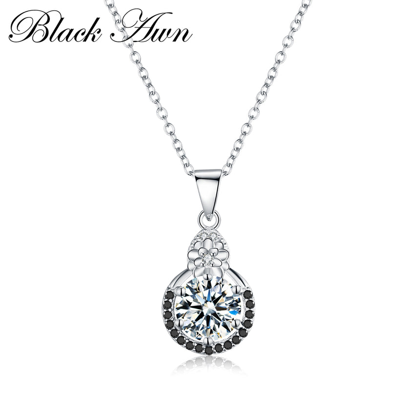 Classic Slide Necklaces Pendants for Women Row Black&White Stone Classic Genuine 100% 925 Sterling Silver Jewelry P142 - Slabiti