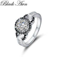 Classic Wedding Rings for Women Genuine Solid 925 Sterling Silver Fine Jewelry Bague C306 - Slabiti
