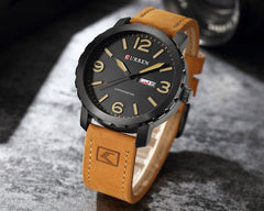 Clock Men Fashion Brand CURREN Casual Leather Business Watch Men Display Date Week Quartz Male Wristwatch Montre Homme - Slabiti