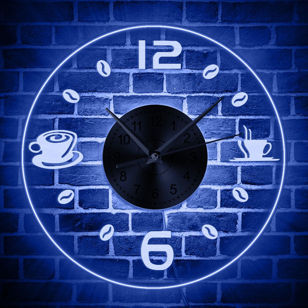 Coffee Vintage Design Illuminated Wall Clock Coffee Bean LED Lighting Business Neon Sign Cafe Kitchen Wall Art Coffee Bar Decor - Slabiti